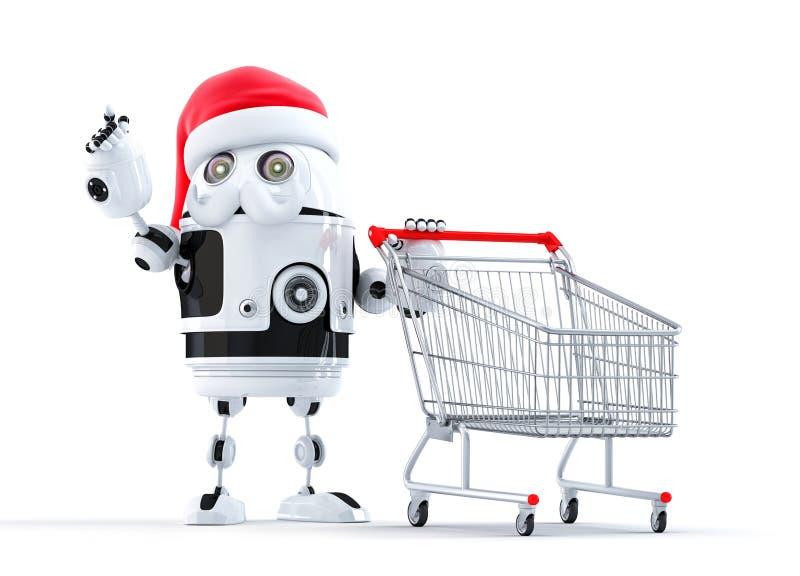 Robot Santa con il carrello che indica all'oggetto illustrazione di stock