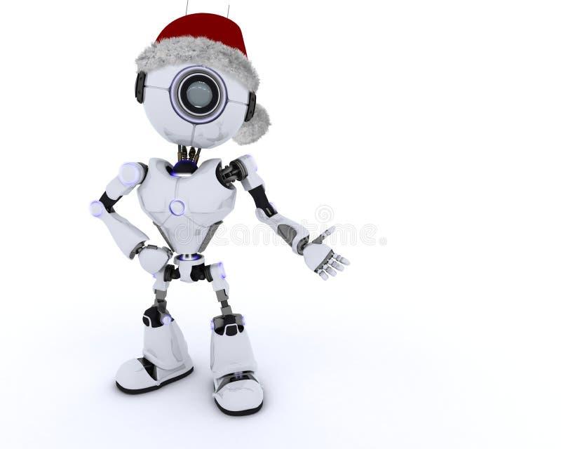 Robot in Santa Hat royalty free illustration