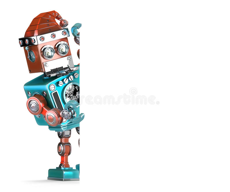 Robot Santa showing blank banner. Christmas concept. . Contains clipping path stock illustration