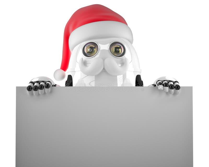 Robot Santa tenant un signe vide D'isolement Contient le chemin de coupure illustration libre de droits