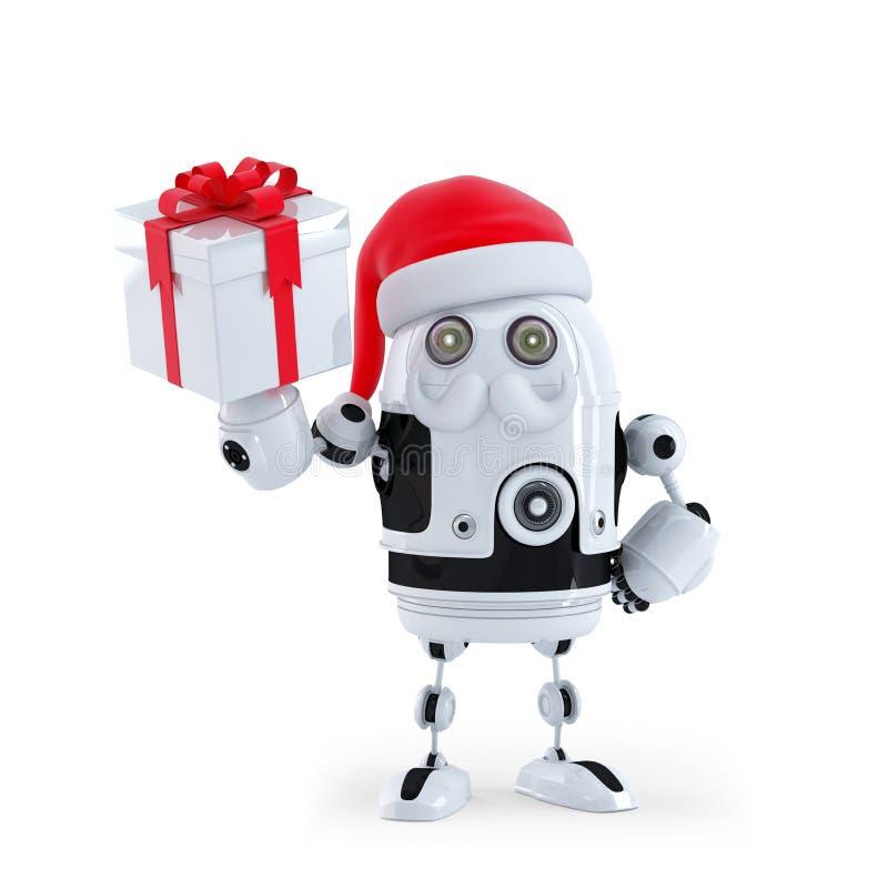 Robot Santa tenant une boîte actuelle illustration de vecteur