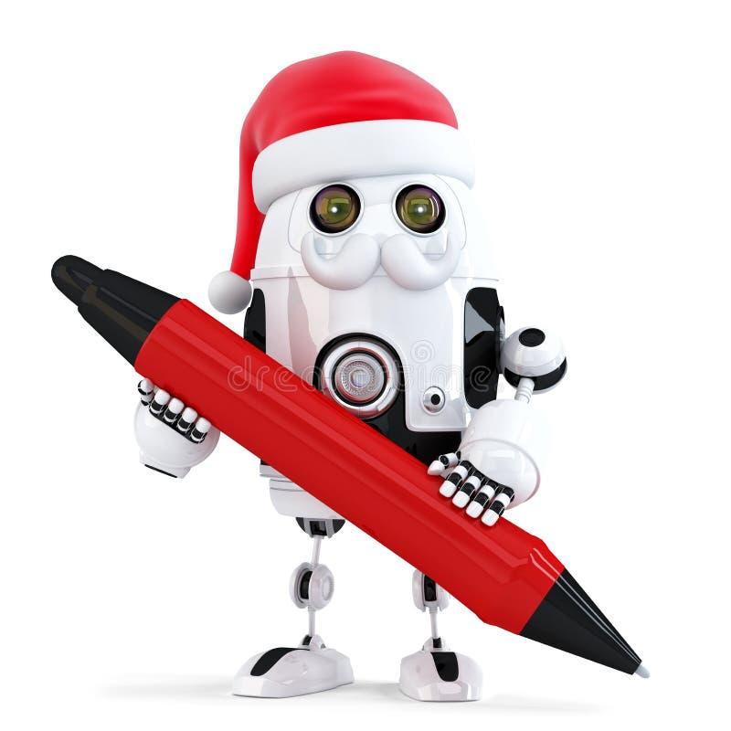 Robot Santa trzyma pióro odosobniony Zawiera ścinek ścieżkę royalty ilustracja