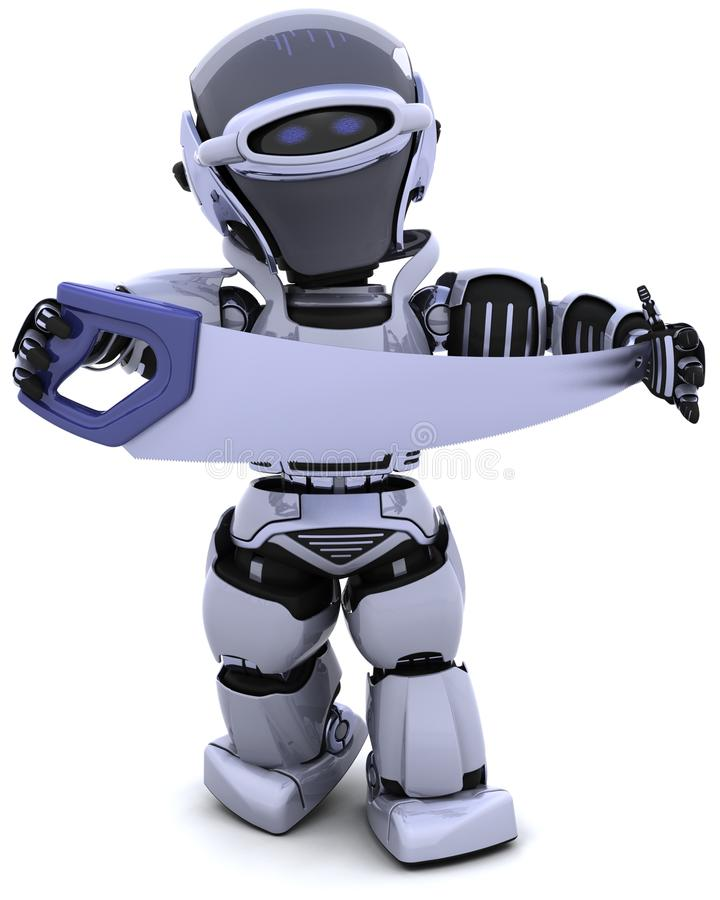 Robot With Saw Stock Photography