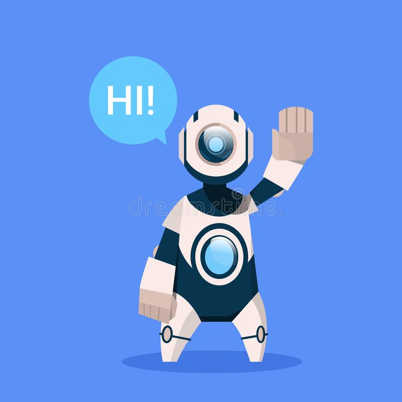 Robot Says Hi Greeting Cyborg Isolated On Blue Background Concept Modern Artificial Intelligence Technology. Flat Vector Illustration royalty free illustration