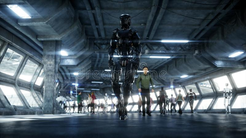 Robot in Sci fi tonnel. Concept of future.. 3d rendering. vector illustration