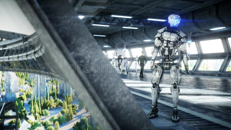 Robot in Sci fi tonnel. Concept of future.. 3d rendering. Robot in Sci fi tonnel. Concept of future.. 3d rendering vector illustration