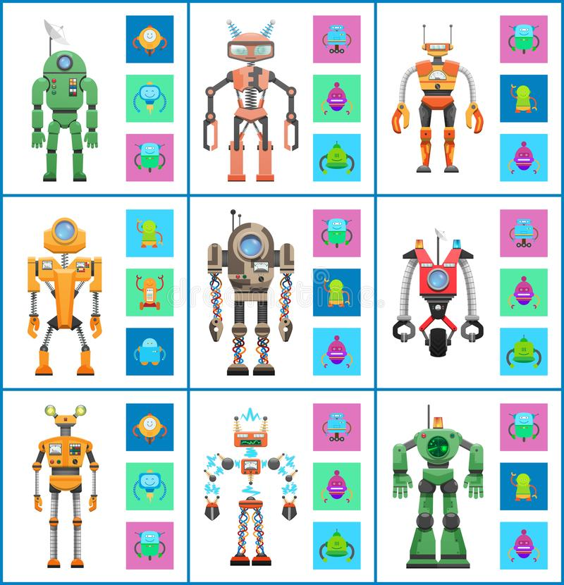 Robot with Screens and Wheels Vector Illustration royalty free illustration