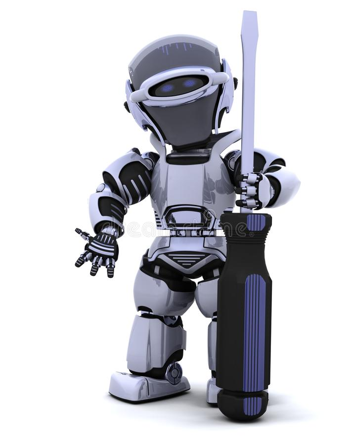 Robot with a screwdriver. 3D render of robot with a screwdriver stock illustration