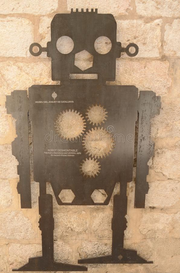 Robot sculpture on facade stock photo