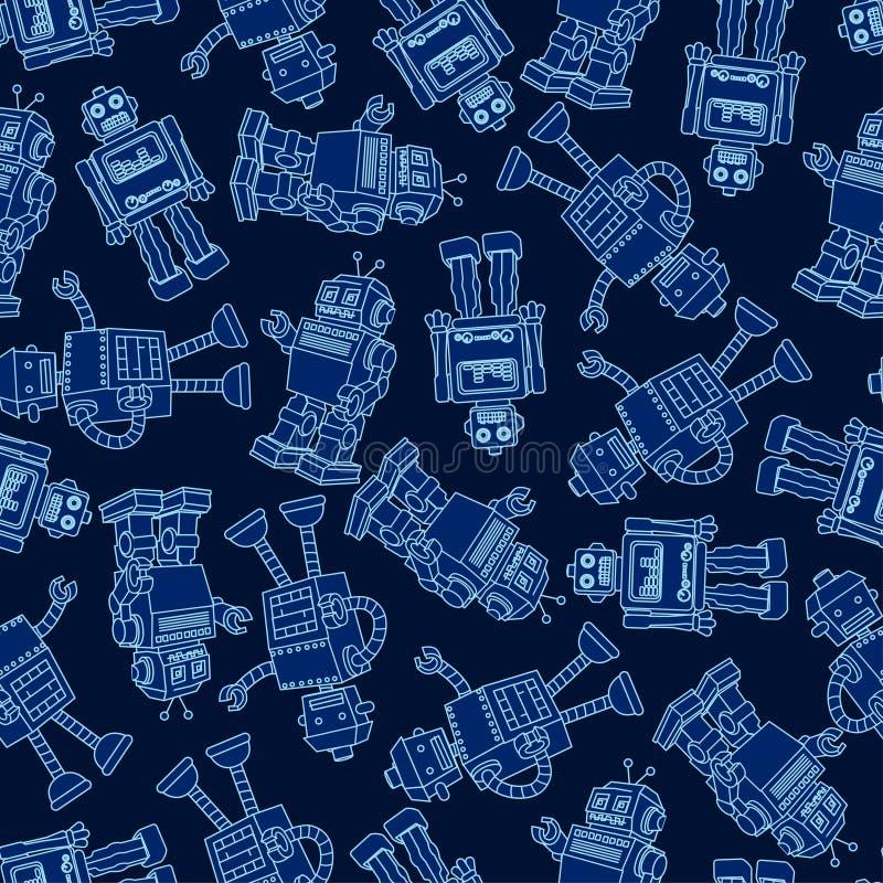 Robot seamless pattern vector illustration