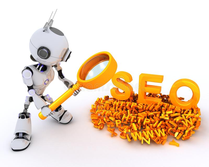 Robot search engine optimisation. 3D Render of a Robot search engine optimisation stock illustration