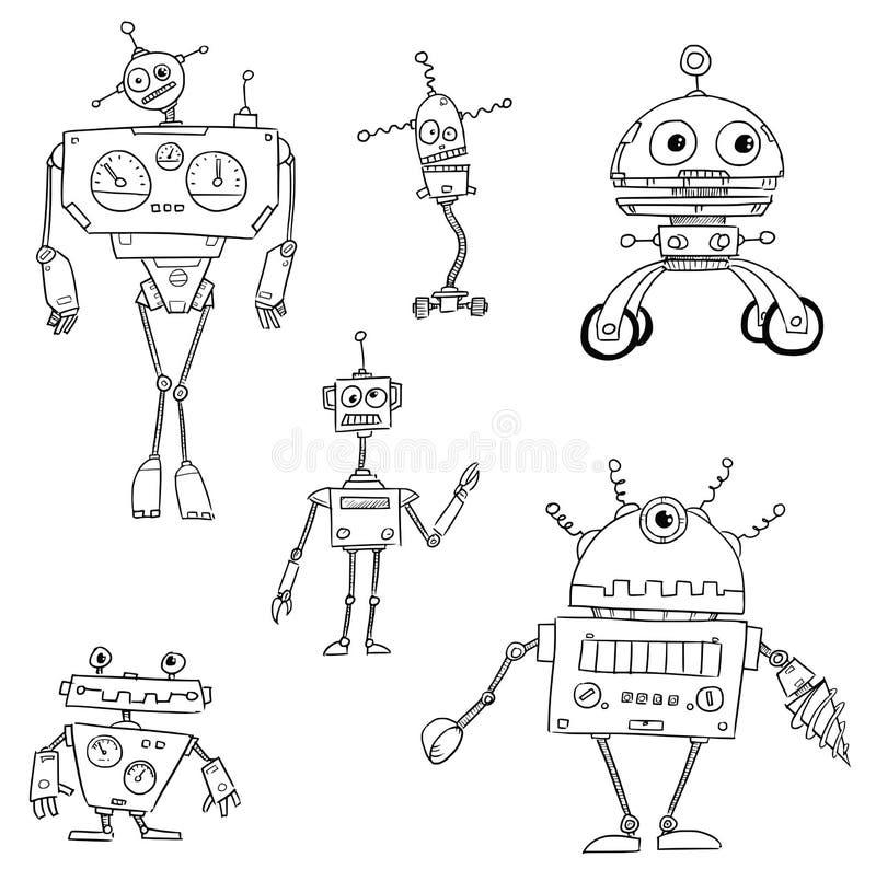 Robot Set02 de vecteur de bande dessinée illustration stock