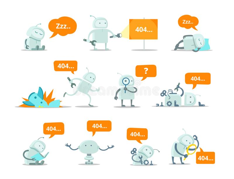 Robot Set 404 error page not found vector Crash accident funny Cosmonaut running repairs. vector illustration