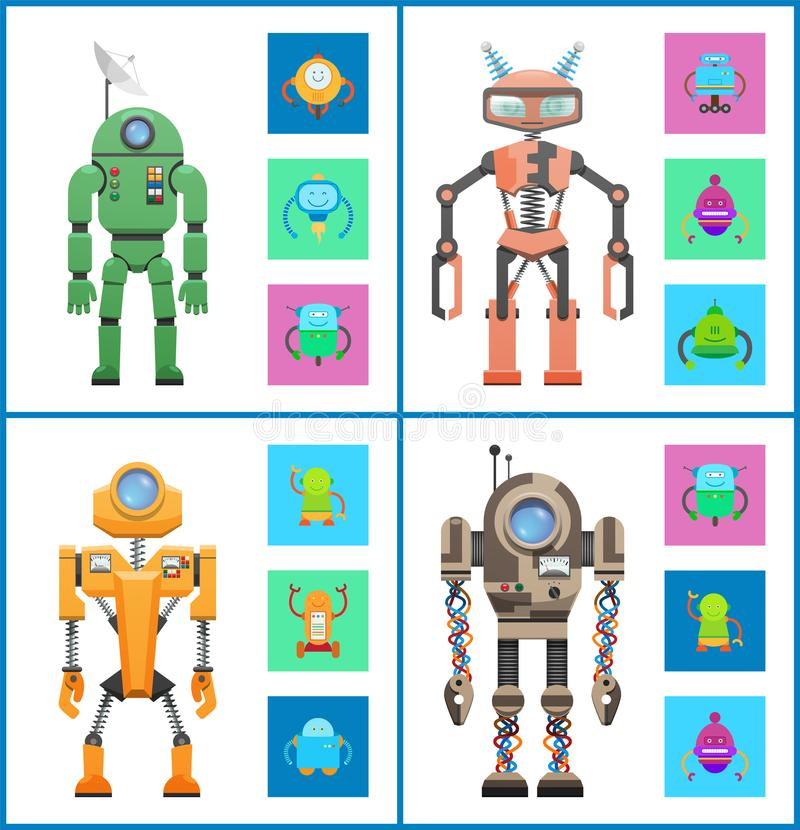 Robot Set Images Collection Vector Illustration stock illustration