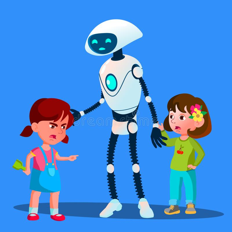 Robot Sets Apart Two Girls Fighting Kids Vector. Isolated Illustration stock illustration