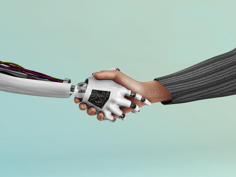 Robot shaking hand with human. stock photo