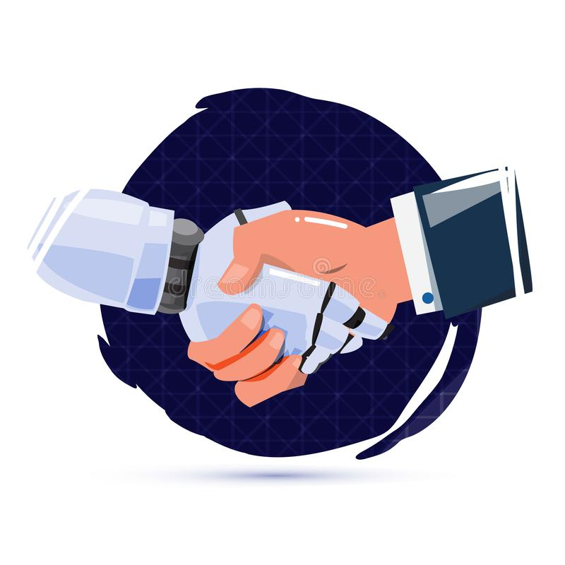 Robot shaking hand with human - vector vector illustration