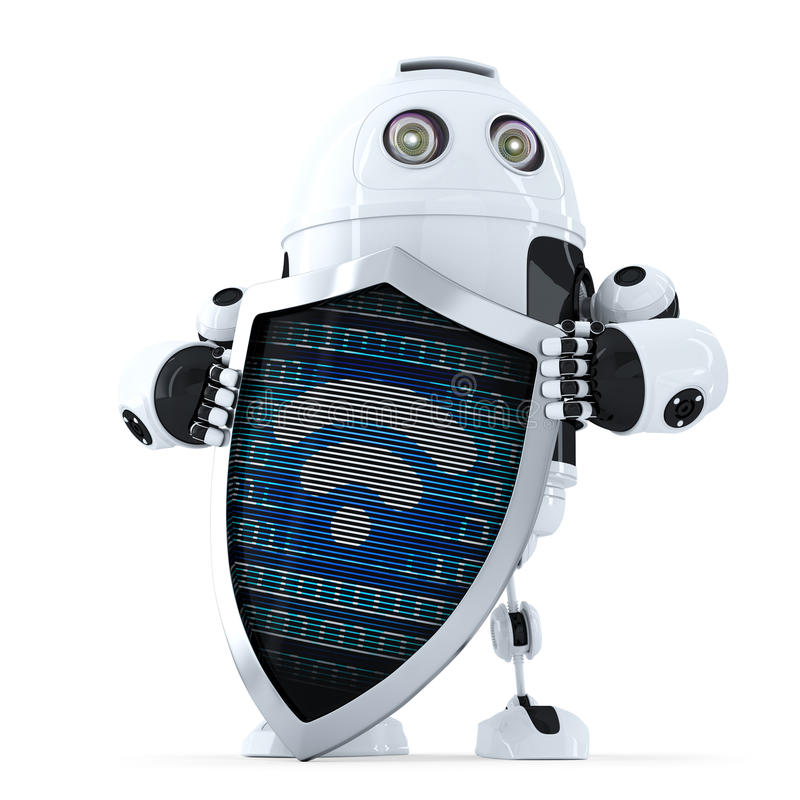 Robot with shield and wifi symbol on it. Internet security concept. Isolated. Contains clipping path royalty free illustration