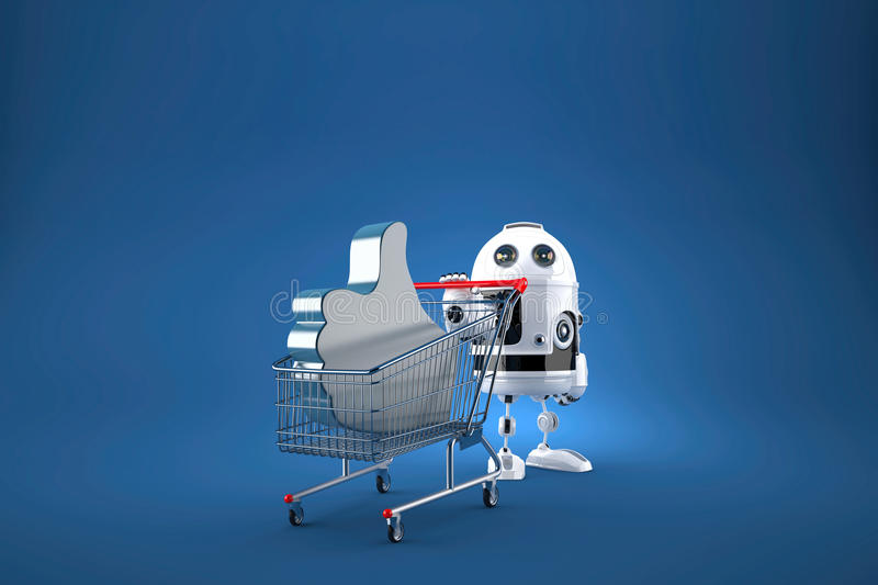 Robot with shopping cart. Contains clipping path. 3d illustration.  royalty free illustration