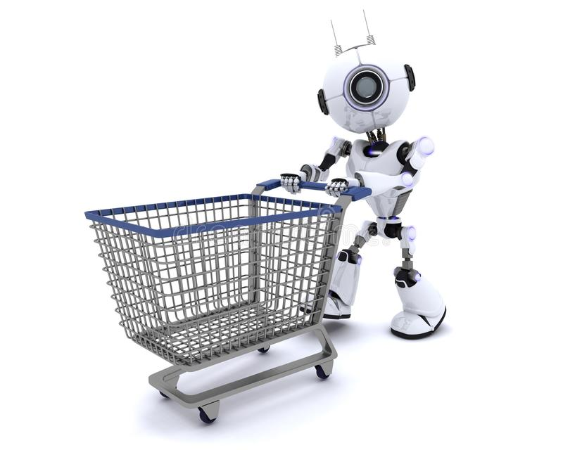 Robot with shopping cart. 3D Render of a Robot with shopping cart vector illustration