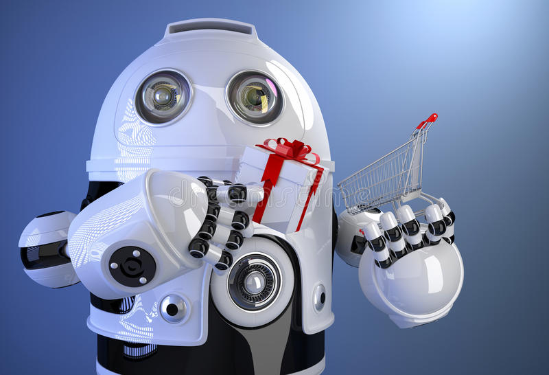 Robot with shopping cart with gift box. Contains clipping path royalty free illustration