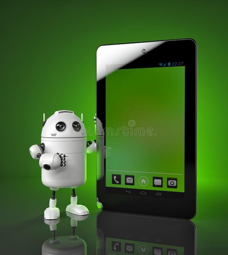 Robot showing tablet computer vector illustration
