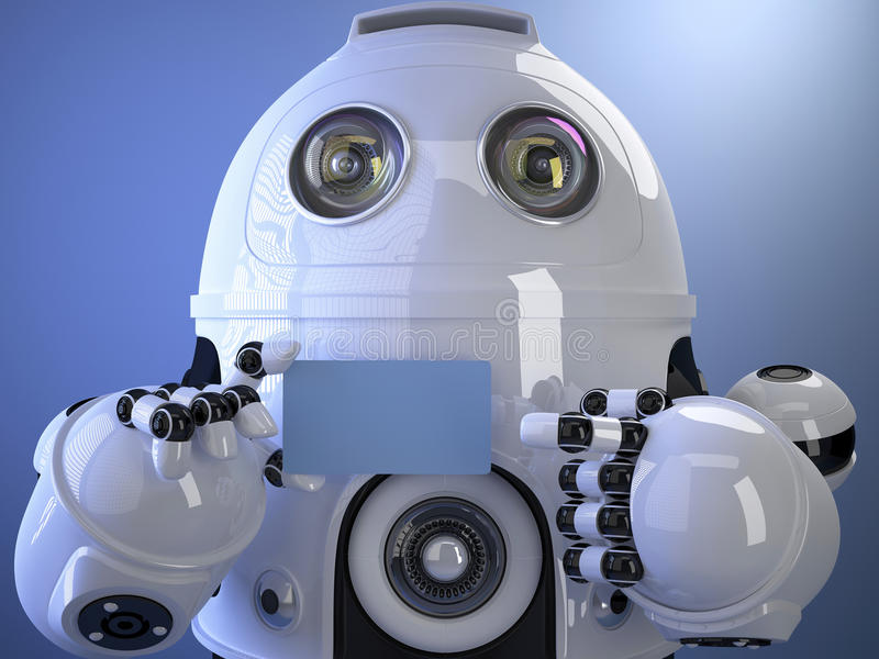 Robot shows a business card. Contains clipping path of entire sc stock illustration