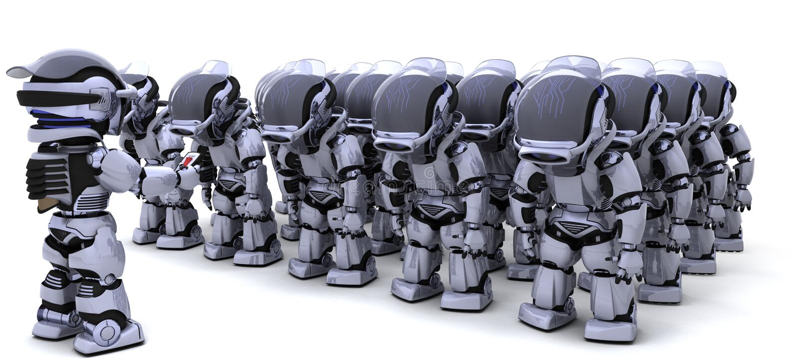 Robot shutting down army of robots vector illustration