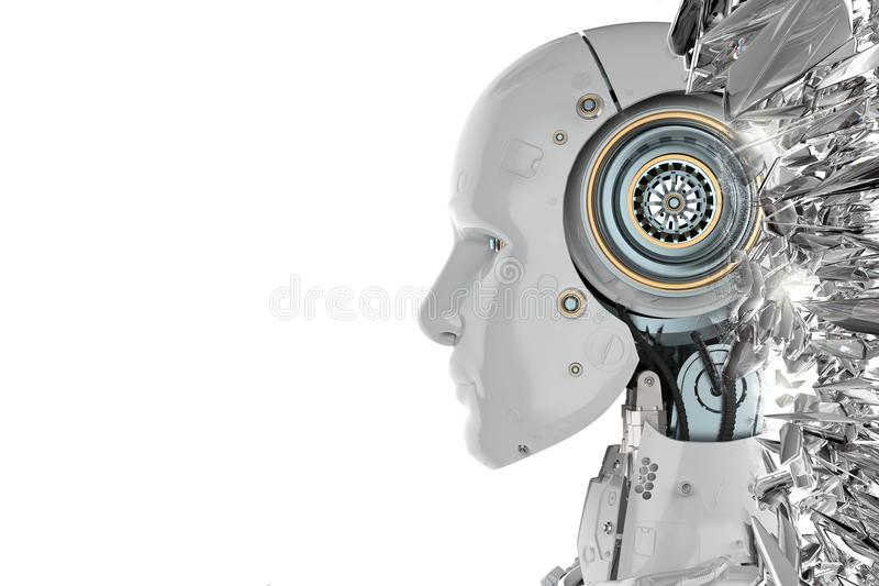 Robot side view. 3d rendering humanoid robot side view with blank space on white background stock illustration
