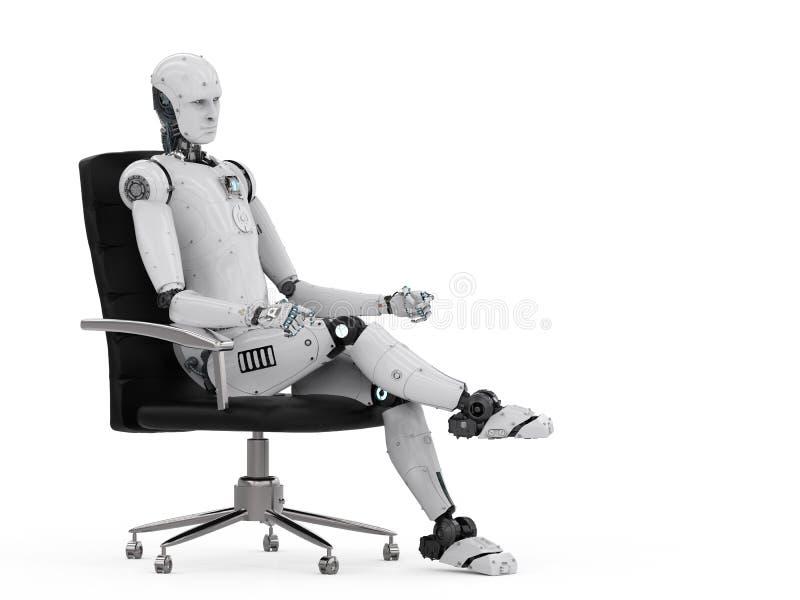 Robot siedzi na biurowym krześle ilustracja wektor