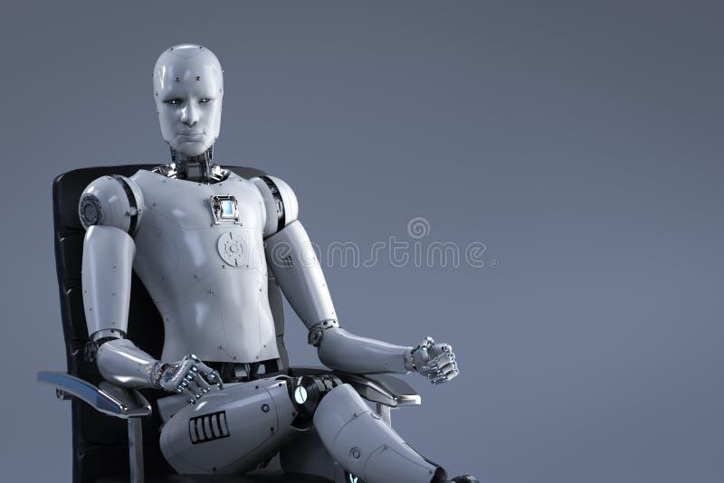 Robot siedzi na biurowym krześle royalty ilustracja