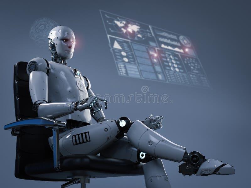 Robot siedzi na biurowym krześle ilustracji