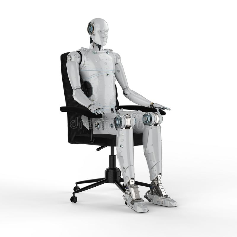 Robot siedzi na krześle ilustracja wektor