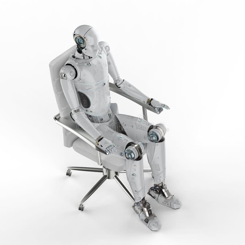 Robot siedzi na krześle royalty ilustracja