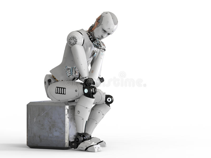Robot siedzi puszek i główkowanie ilustracja wektor