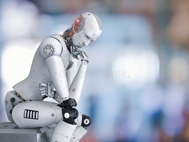 Robot siedzi puszek i główkowanie royalty ilustracja