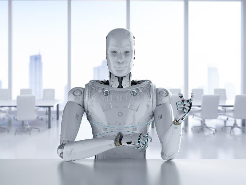 Robot siedzi w biurze ilustracji