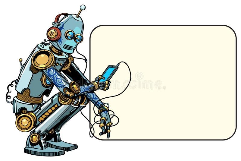 Robot siedzi z telefonem ilustracji