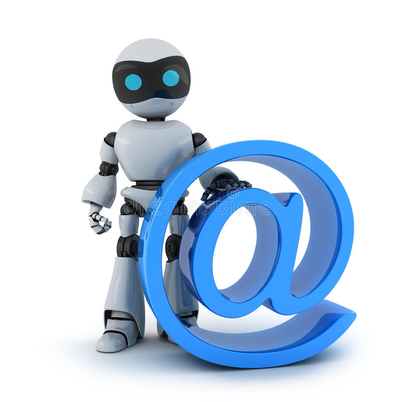 Robot and sign email. Robot and sign @ (done in 3d stock illustration