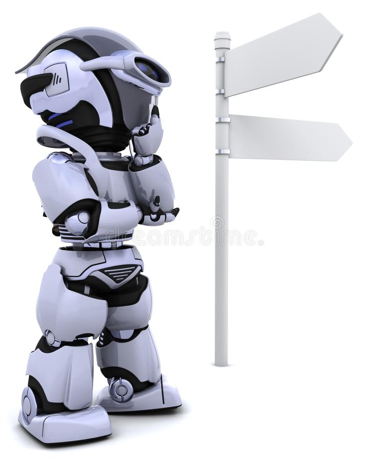 Robot at a signpost. 3D render of a robot at a signpost royalty free illustration