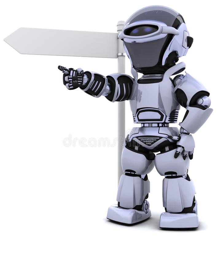 Robot At A Signpost Stock Image