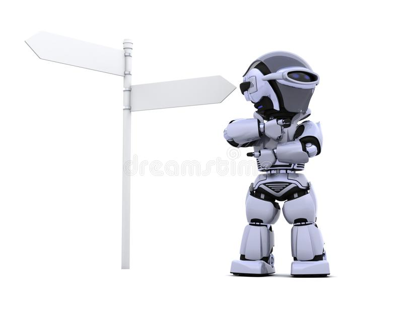 Robot at a signpost. 3D render of a robot at a signpost vector illustration