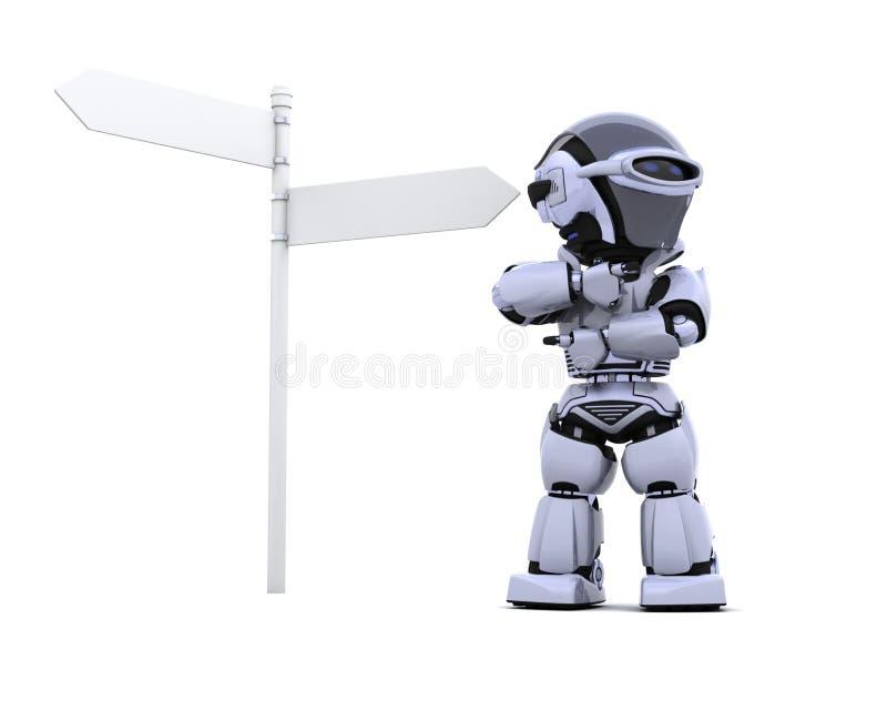 Robot at a signpost vector illustration
