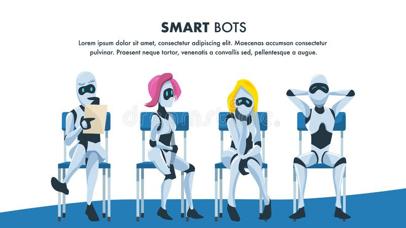 Robot Sit on Chair in Queue Wait for Job Interview. Pensive and Relaxed Artificial Intelligence with Resume. Male and Female Smart Bot Candidate. Office royalty free illustration