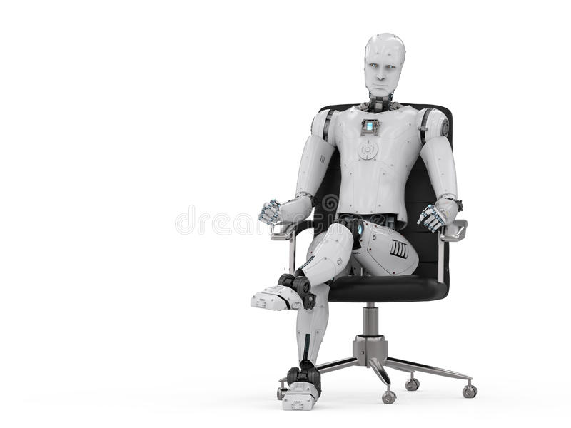 Robot sit on office chair royalty free illustration