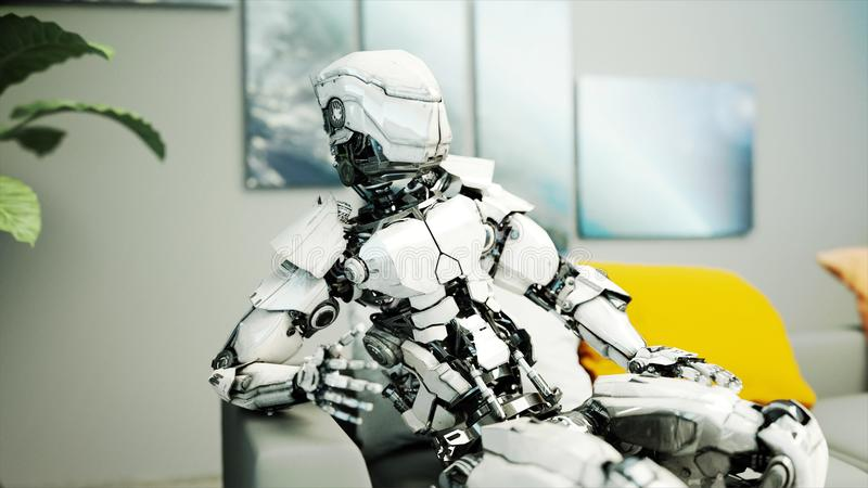 Robot sit on sofa. Relax. Concept of future. 3d rendering. vector illustration