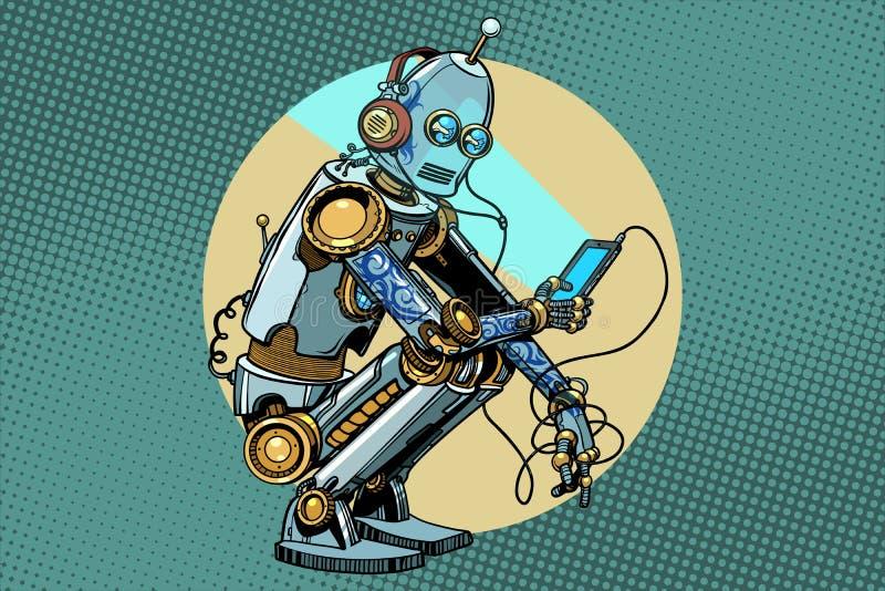 The robot sits and reads smartphone. New technologies, progress. Pop art retro vector vintage illustrations vector illustration