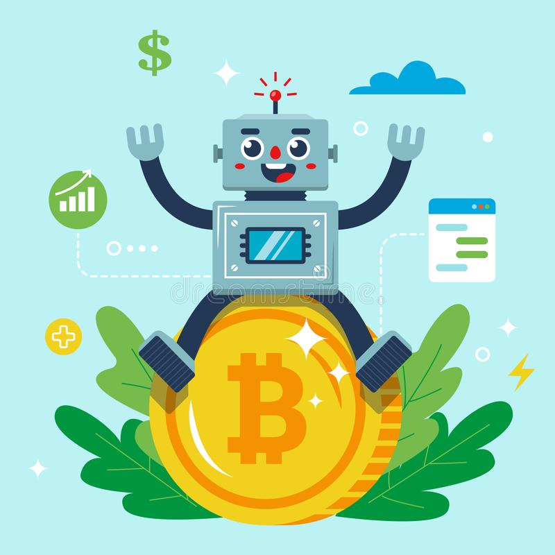 The robot is sitting on a bitcoin coin. character stock illustration