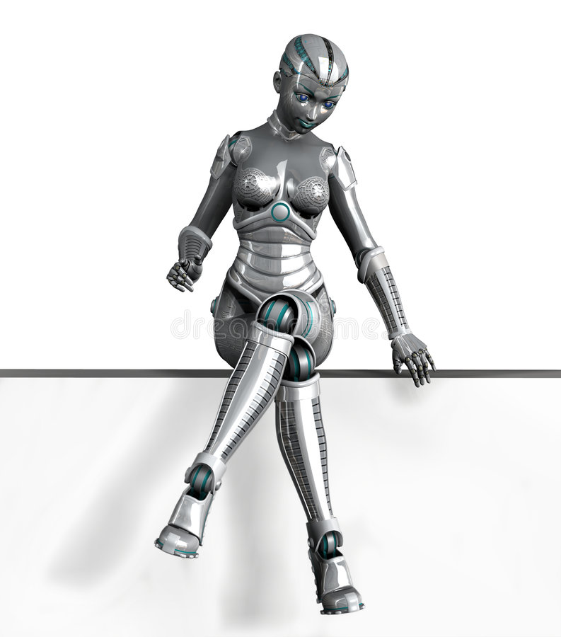 Download Robot Sitting On Frame Edge - With Clipping Path Stock Illustration - Image: 1004537