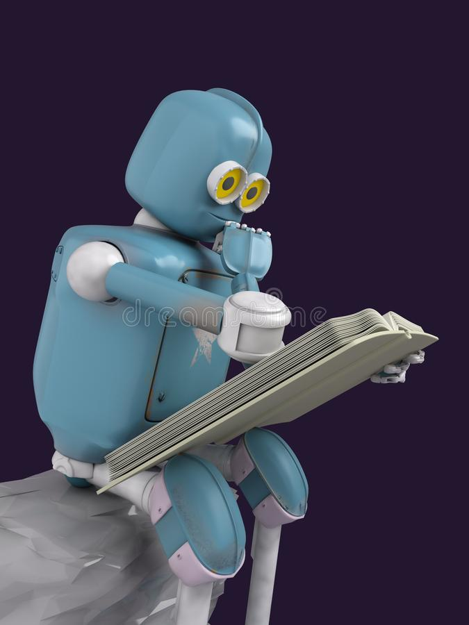 Robot is sitting on a stone and reading a book.3d.render vector illustration